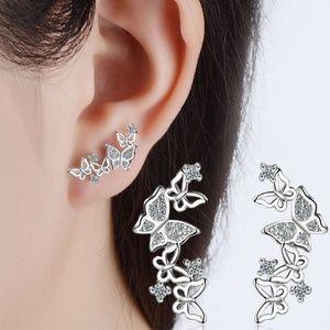 925 Sterling Silver Charming Butterfly earrings